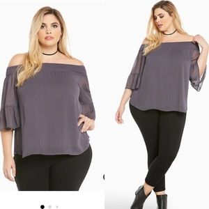 Torrid 1x CHIFFON OFF SHOULDER TOP